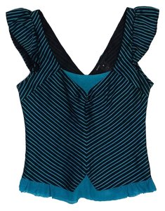 Marc Jacobs Teal & Black Striped Sleeveless Top