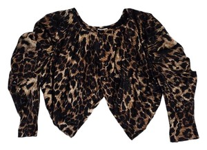 Haute Hippie Cropped Brown Black Print Cardigan