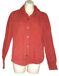 Façonnable Button Front Casual Top Red
