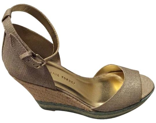 Elaine Turner Espadrille Gold Metallic Linen with Tiffany/Mint Jute Wedges