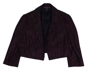 Carmen Marc Valvo Cropped Metallic Red & Black Jacket