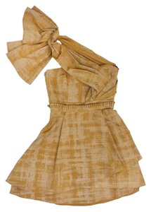 Vera Wang short dress Gold Printed Taffeta on Tradesy