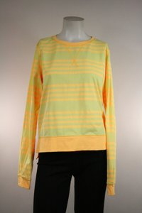 Lululemon Lululemon Yellow Striped Warm Up Crew Pullover Shirt Top