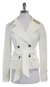 Theory White Cotton Double Breated Jacket