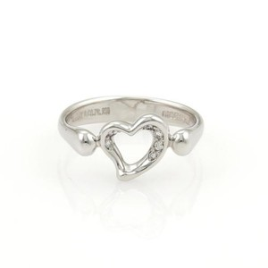 Tiffany & Co. Tiffany Co. Elsa Peretti Platinum Diamond Open Heart Ring