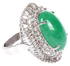 Other PT950 JADE RING WHITE GOLD DIAMOND 16.63G RD0.91CT SD1.46