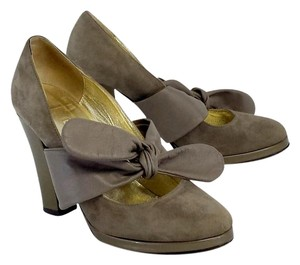 Twelfth St. by Cynthia Vincent Grey Suede Tie Strap Pumps
