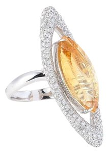 Other 18K WHITE GOLD YELLOW SAPPHIRE DIAMOND RING D1.67CT /STONE9.17CT