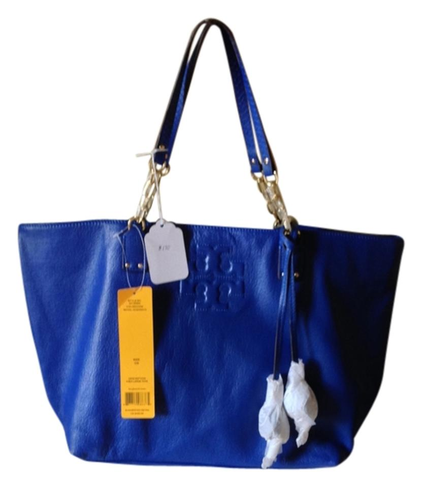 ae26f76e9a Tory Burch Thea Large Handbag Royal Ocean Leather Tote - Tradesy