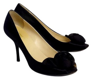 Prada Black Satin Peep Toe Heels Pumps