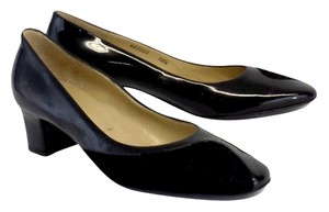 Bruno Magli Black Patent Leather Suede Pumps