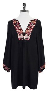 Joie short dress Black Long Sleeve Floral Embroidered Shift on Tradesy