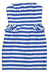 Lilly Pulitzer short dress Light Blue White Striped Strapless on Tradesy