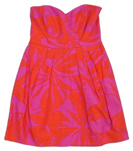 Shoshanna short dress Pink & Orange Cotton Strapless on Tradesy