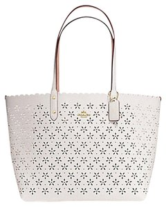 28ab594aa82 Coach Shoulder 36875 Satchel 36876 Tote in Gilter Chalk white Gold Tone