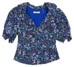Rebecca Taylor Brown Blue Floral Silk Top