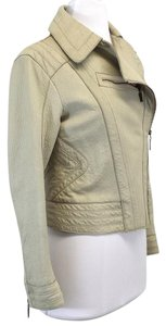 Just Cavalli Beige Distressed Leather Moto Motorcycle Jacket