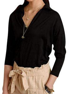 Anthropologie Edgy Cocoon Shirt Deep V-neck Boredeaux Boxy Top Black