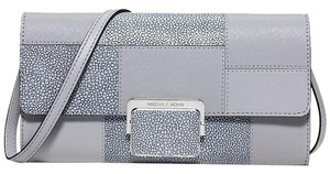 Michael Kors Grey Silver Leather Cynthia Dove/Silver Clutch