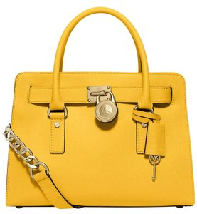 Michael Kors Hamilton New With Tags Yellow Satchel in Sunflower/Gold