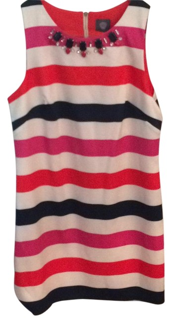 Item - Cream with Navy Pink Orange Stripes Vc5m9810 Above Knee Cocktail Dress Size 10 (M)