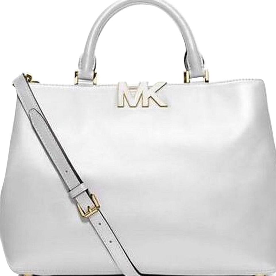 b1a7cc23d0 Michael Kors Florence-satchel Vanilla-white with Mk Monogram At Front Off  White Leather Satchel