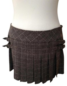 Juicy Couture Mini Wool Plaid Pleated Mini Skirt Brown