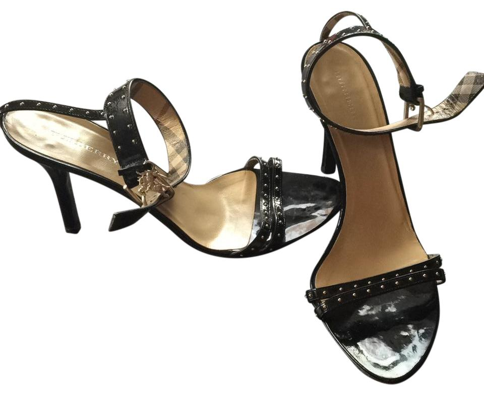 3ca5e7016 Burberry Black Patent Stunning Studded Ankle Strap Heels Sandals ...