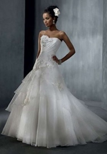 Alfred Angelo White Organza 2310c Formal Wedding Dress Size 10 (M)