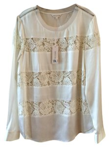 Rebecca Taylor Lace Silk Club Occasion Top IVORY