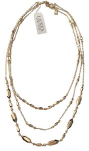 Lauren Ralph Lauren Hexagon Bead Triple Row Gold Tone Necklace