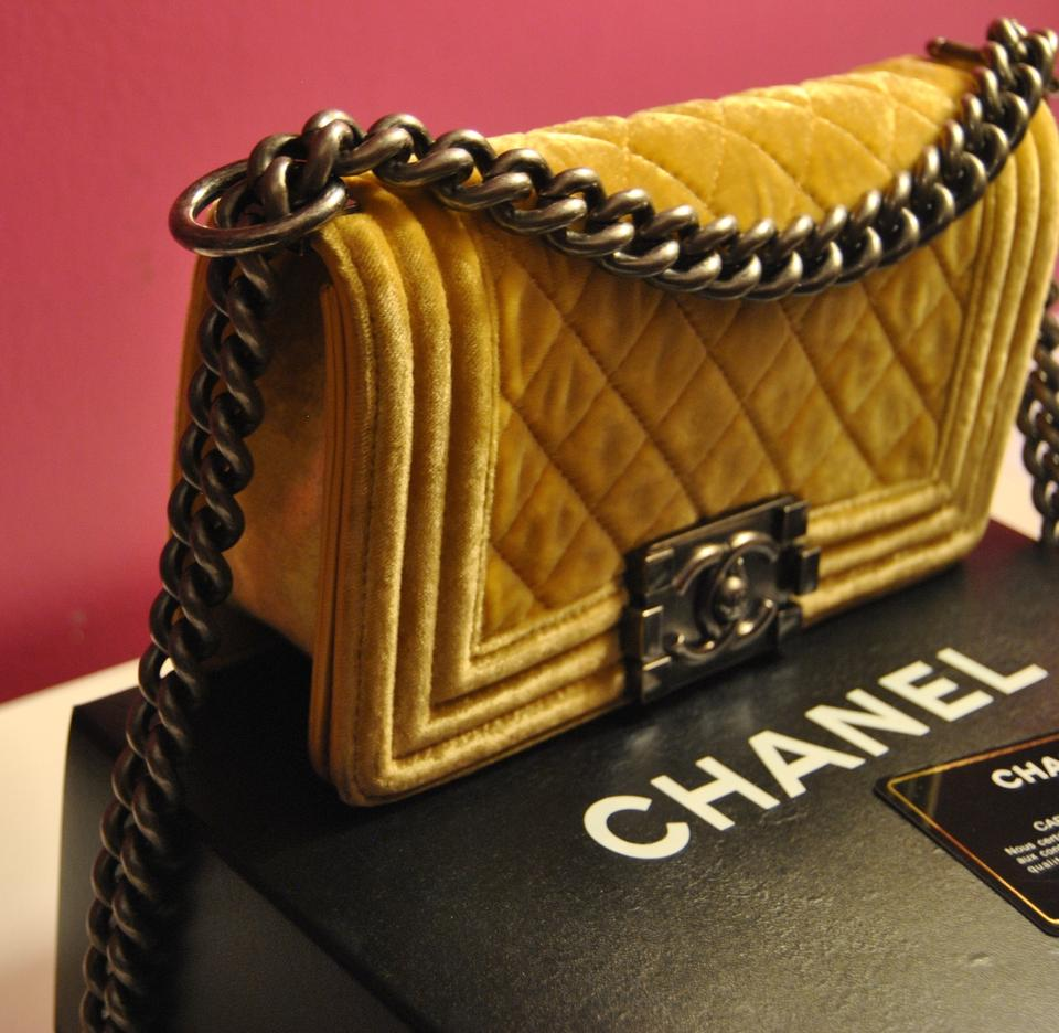 Chanel Le Boy In Yellow Velvet Yellow 34 Off Chanel
