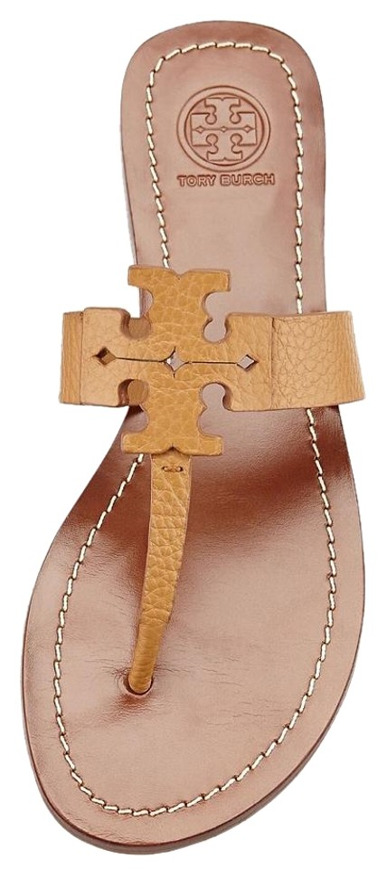 Tory Moore Burch Royal Tan Brown Moore Tory Flat Thong Leather Sandals 95983a