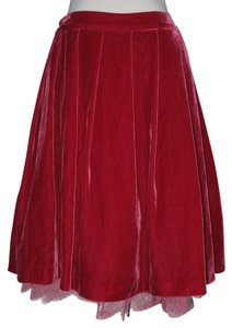 Tracy Reese Velvet New York Lace Skirt Magenta/Red