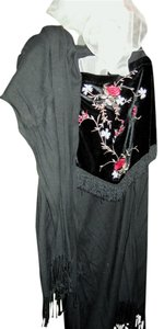 Other Gypsy Bohemian Unusual Free People Velour Velvet Embroidered Burlesque Top Black Velour