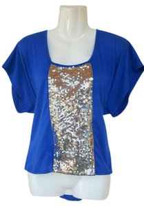 Living Doll Royal Blue Sequins Silver High Low Top blue, silver