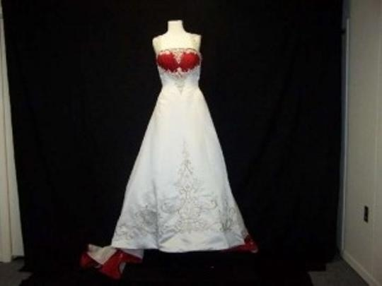 Alfred Angelo Ivory/Cherry Satin 1193 Formal Wedding Dress Size 12 (L)