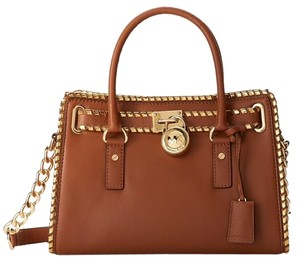 Michael Kors Leather Handbag Designer Satchel in Brown/Dark Gold
