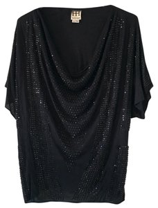 Haute Hippie Edgy Sequin Studs Top Black