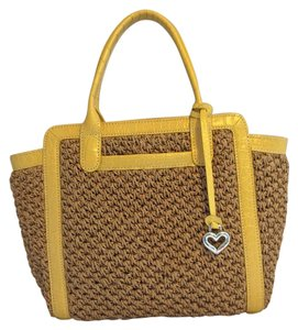 Brighton Straw Accent Satchel in Natural with yellow leather accents