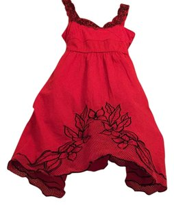 Free People short dress Red with black floral detailing on Tradesy