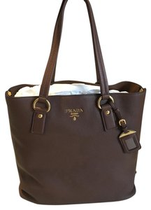 Prada Vitello Vitello Daino Tote in Brown