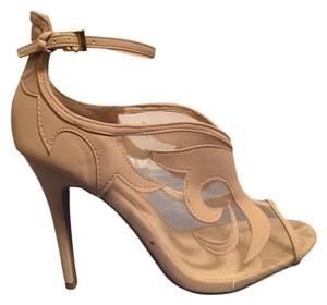 Dollhouse Stiletto Open Toe Chic Sexy Ivory nude/mesh Pumps