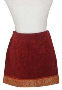 Cynthia Steffe Mini Velvet Red Mini Skirt Rust