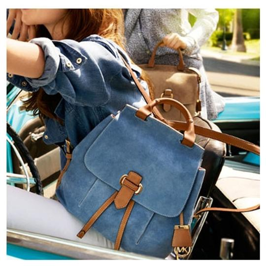 9a2cd784ab3834 ... closeout michael kors romy suede leather tan blue backpack 3abbf 4ebf5