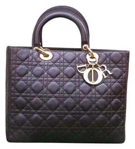 Dior Lady Large Tote in Dark brown
