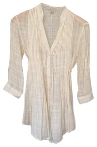Forever 21 Button Down Sheer Button Down Shirt Cream