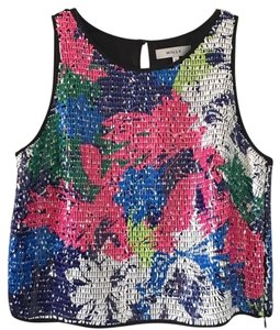 MILLY Neon Sequin Crop Top Multi Colored
