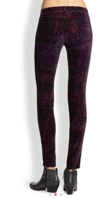 J Brand Velvet Leggings In Pink/purple/gray Print Skinny Jeans-Dark Rinse