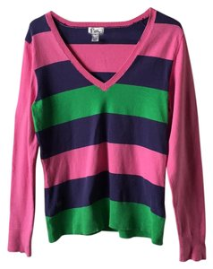 Lilly Pulitzer Preppy. V-neck Stripes Sweater